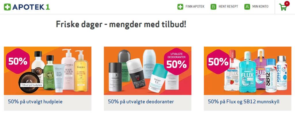 Bildet viser tilbudssiden på Apotek1.no