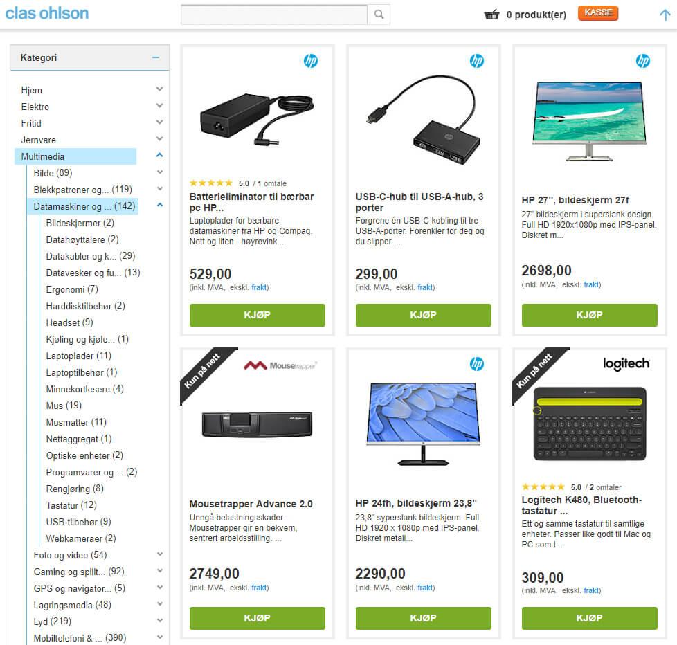 Bildet viser noen av produktene på Clasohlson.no