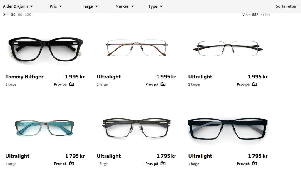 Bildet viser noen av designerbrillene på Specsavers.no