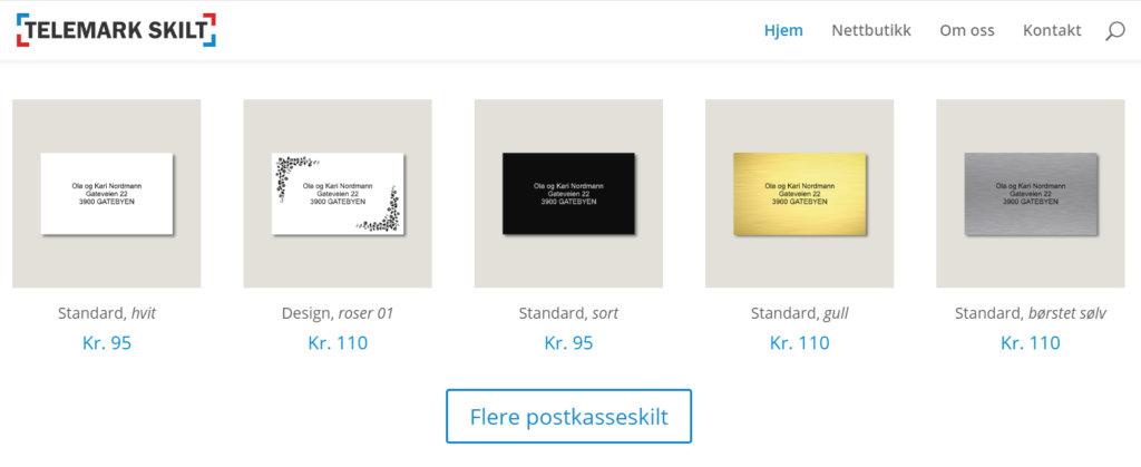 Bildet viser noen av skiltene på Telemarkskilt.no