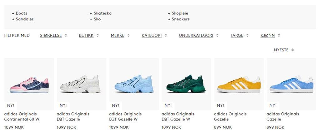 Bildet viser noen av skoene på Caliroots.no