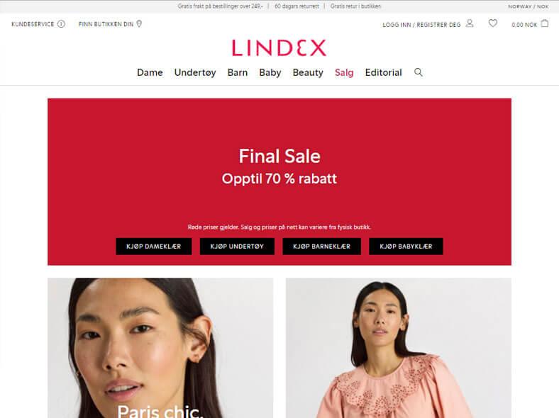 Lindex skjermbilde