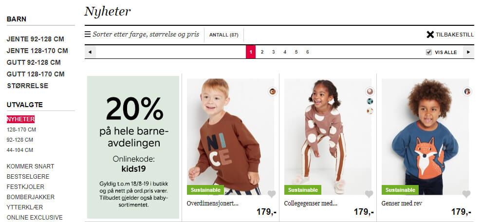 Bildet viser noen av barneplaggene på Lindex.no