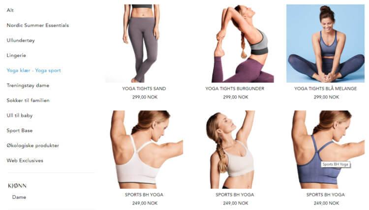 Bildet viser noen av yogaplaggene på Pierrerobert.no