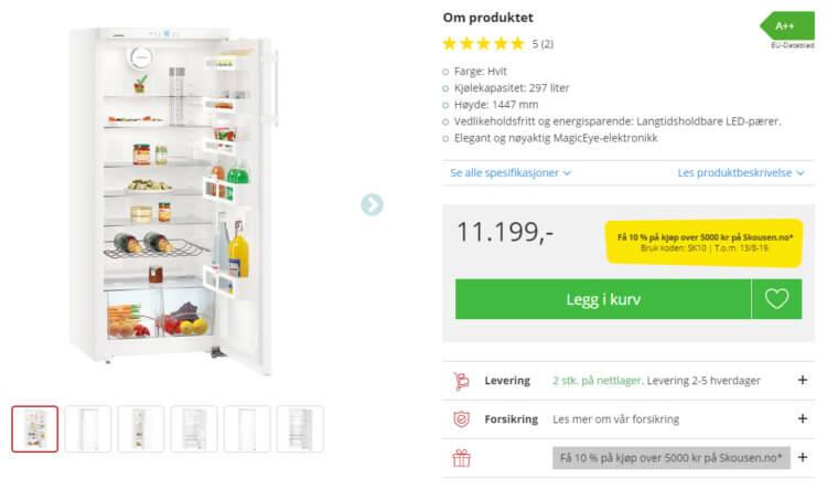 Bildet viser produktvisningen på Skousen.no.