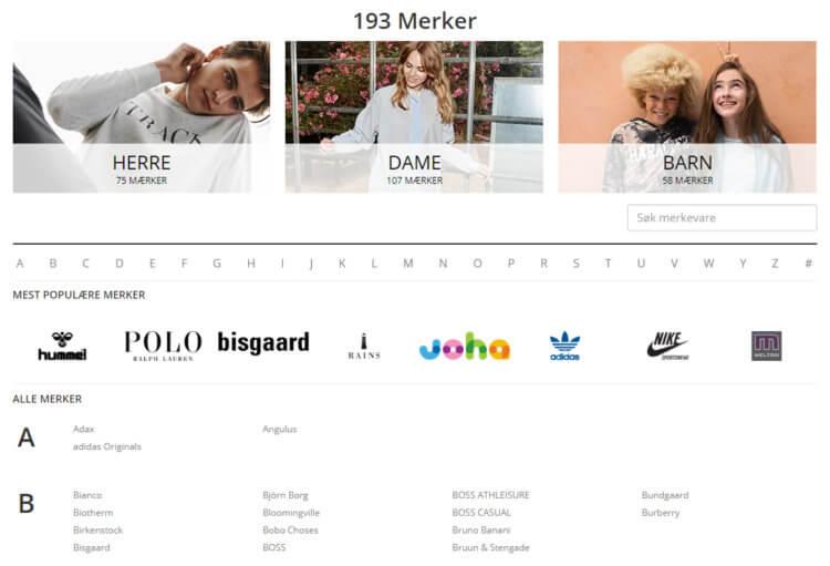 Bildet viser noen av merkevarene på Stylepit.no