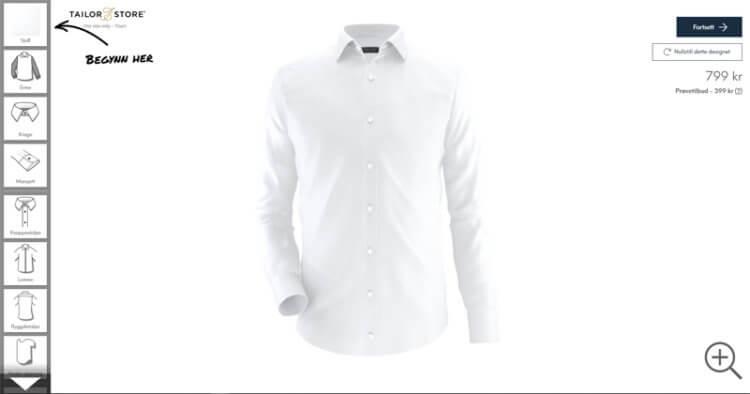 Bildet viser dressdesignerfunksjonen på Tailorstore.no
