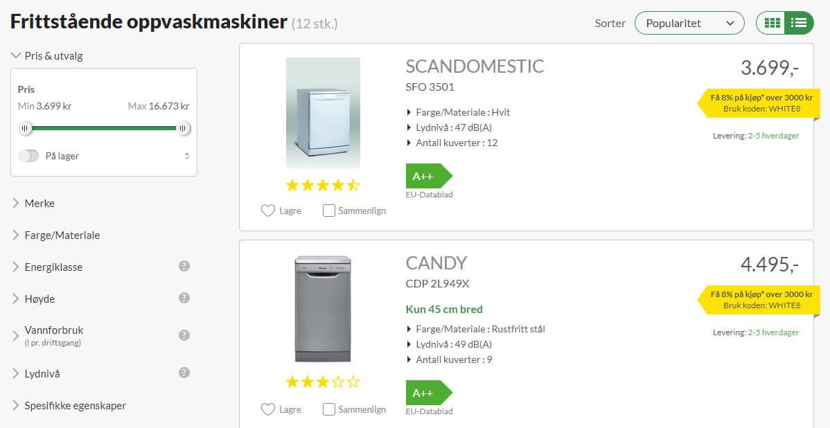 Bildet viser noen av produktene på Whiteaway.no