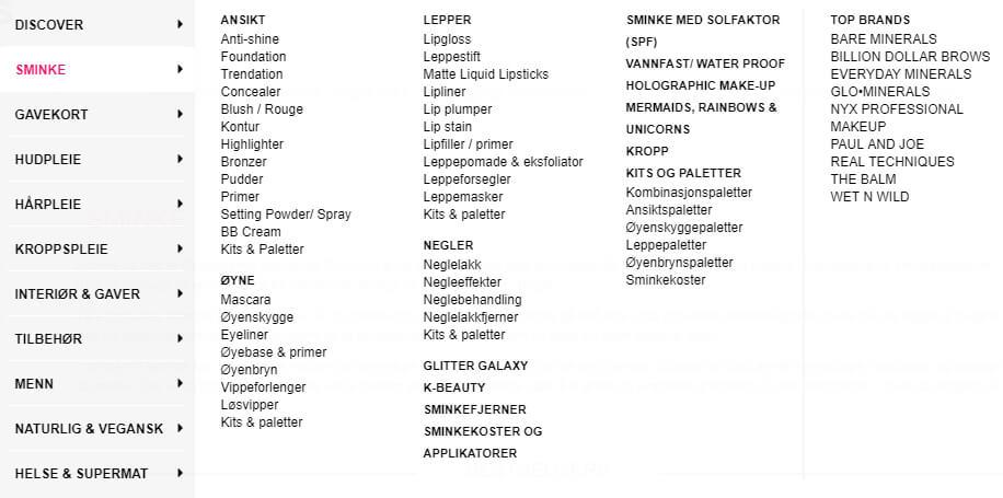 Bildet viser noen av varekategorien relatert til sminke på Coverbrands.no