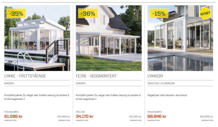 Bildet viser noen av de komplette hagestuene på Grøntfokus.no