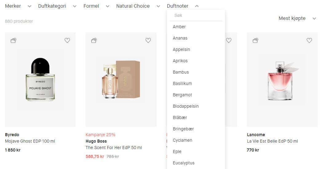 Bildet viser noen av parfymene på Kicks.no