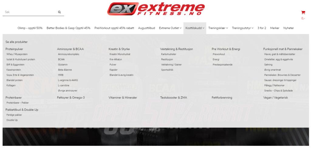 Bildet viser kategorisystemet på Extremefitness.no