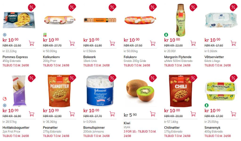 Bildet viser noen av tilbudsvarene på Meny.no