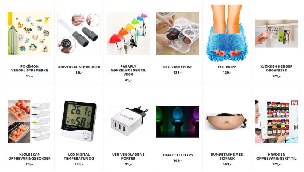 Bildet viser noen av produktene på Smartegadgets.no