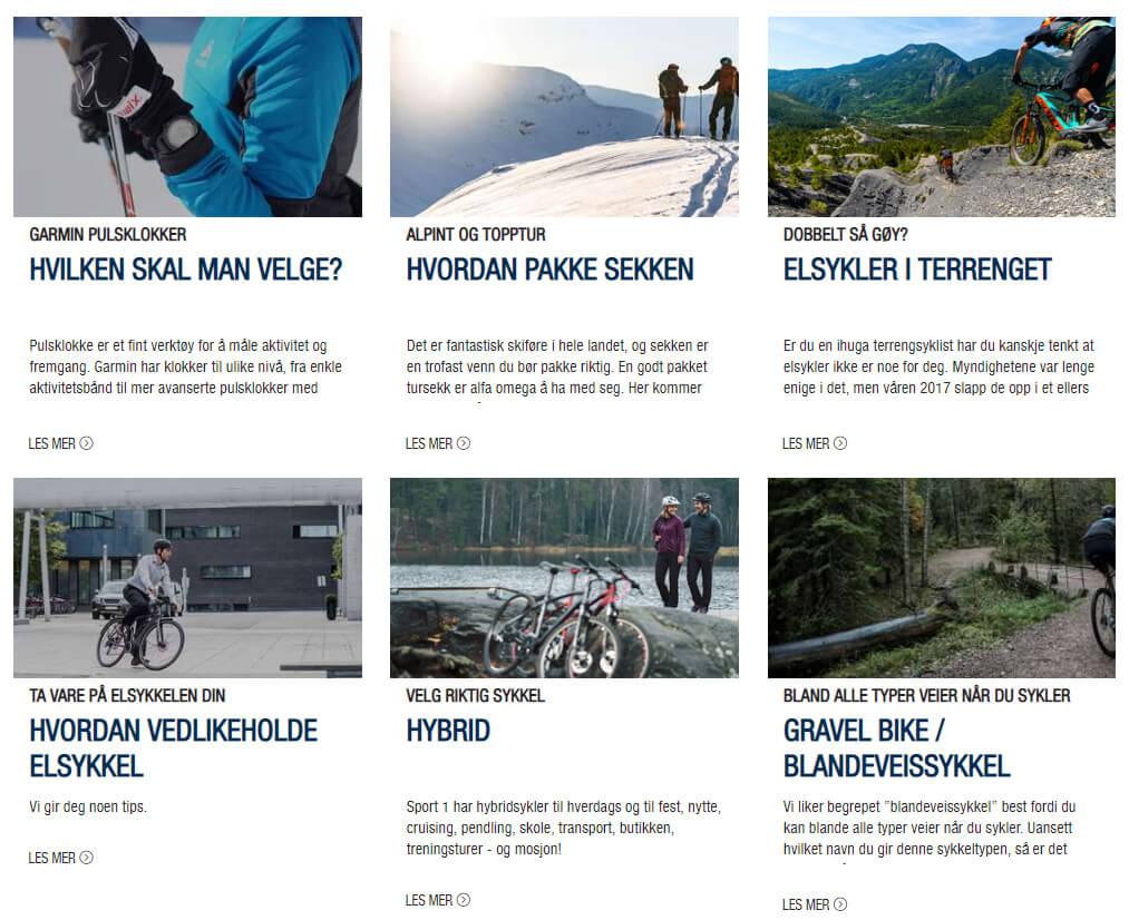 Bildet viser noen av artiklene på Inspirasjonssiden på Sport1.no