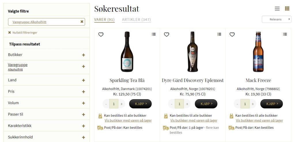 Bildet viser noen av de alkoholfrie varene på Vinmonopolet.no