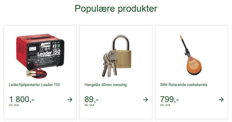 Bildet viser noen av bilproduktene på Felleskjøpet.no