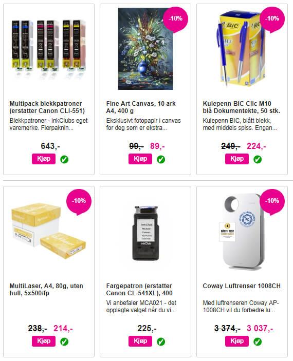 Bildet viser noen av produktene på InkClub.no