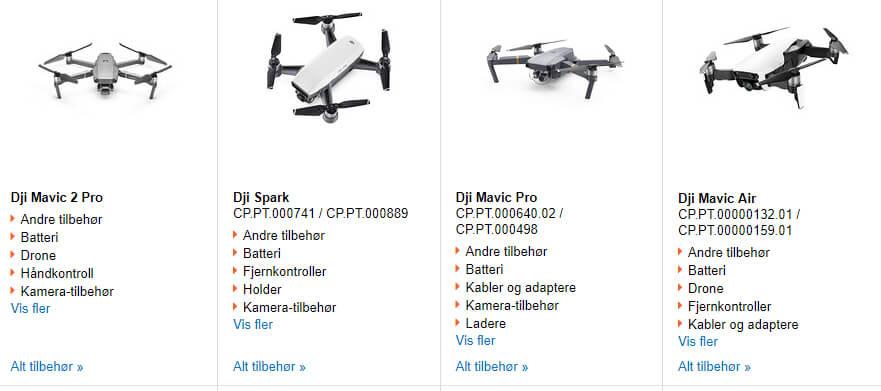Bildet viser noen av dronene på Kjell.com