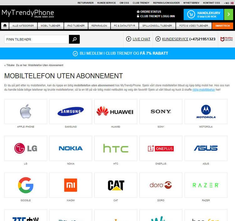 MyTrendyPhone har et bra utvalg av ulike mobilmerkevarer. Blant annet har nettbutikken en del mindre kjente merkevarer, som for eksempel LG, Oneplus og Xiamoi. Dette er merkevarer som ofte koster mindre enn mer kjente merkevarer, og som likevel holder en høy teknisk standard.
