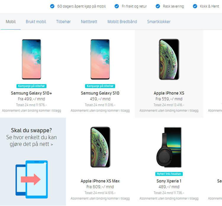 Noen av mobiltelefonene på Telenor Nettbutikk.