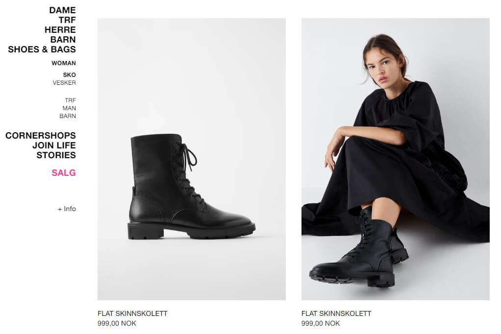 Bildet viser noen av skoene på Zara.no