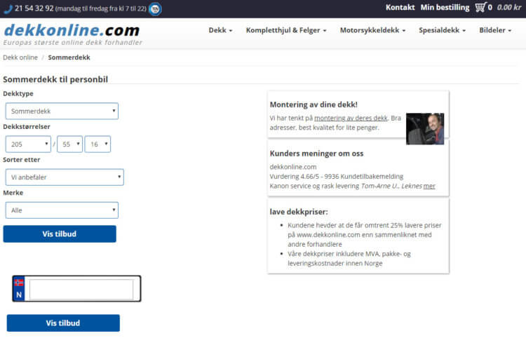 Dette bildet viser Dekkonline.com's skjema for søk etter bildekk.