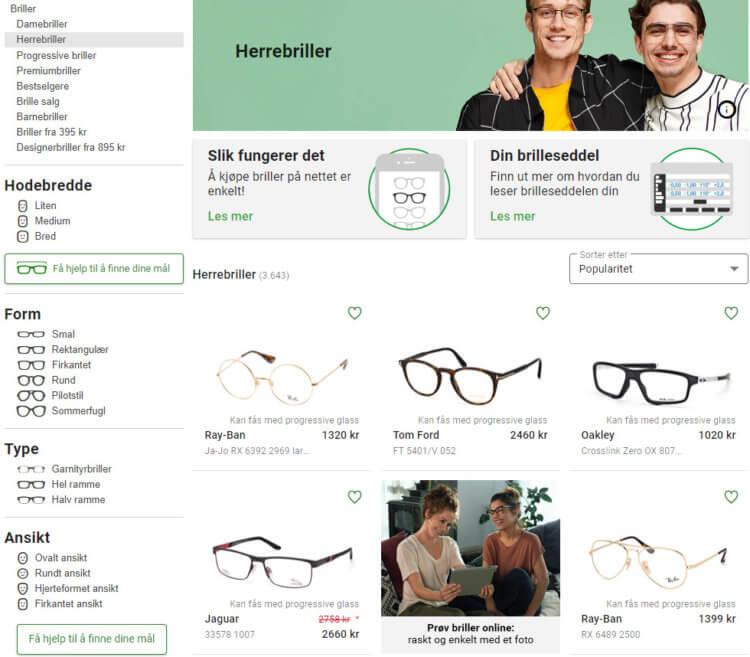 Seksjonen for herrebriller.
