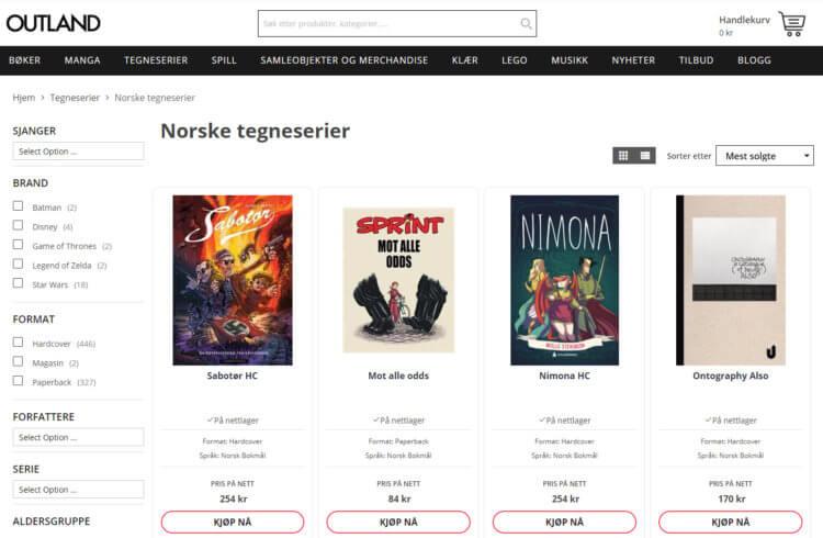 Outland har også en egen kategori for norske tegnseserier. Her finner man ikke bare tegneserier med norsk tekst, men også tegneserier laget av norske tegneserieskapere.