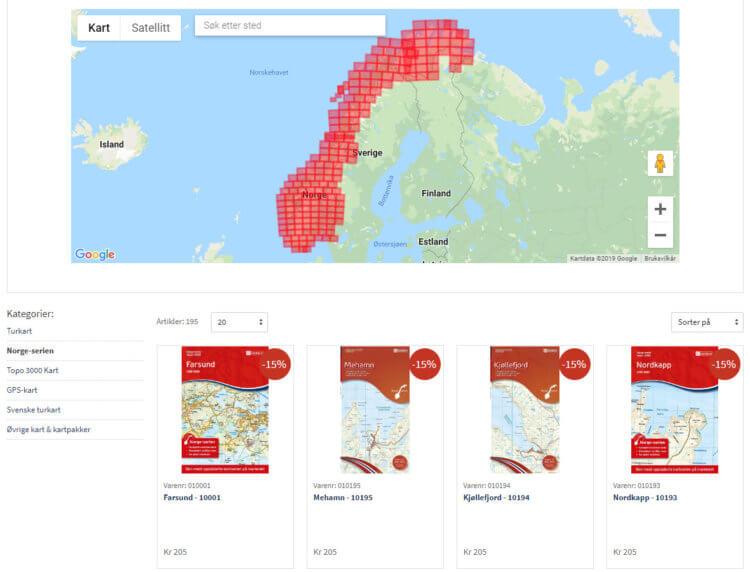 Bilde fra kart-kategorien på DNTbutikken.no