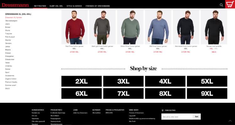 Bilde fra XL-kategorien på Dressmann.no