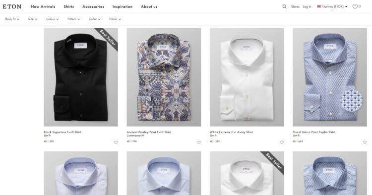 Bilde som viser litt av skjorteutvalget på Etonshirts.com