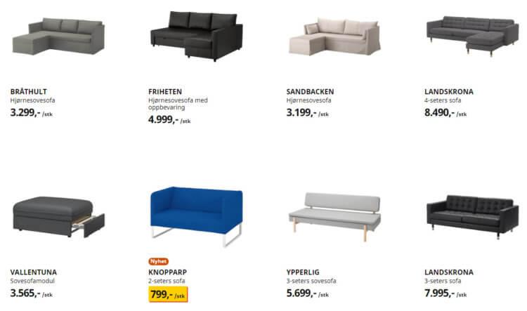 Noen av sofaene man finner på Ikea.no.