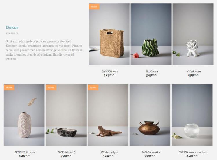 Dette bildet viser noen av dekorvarene på Jotex.no