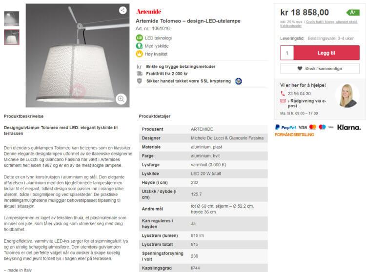Bildet viser en av produktsidene på Lampegiganten.no