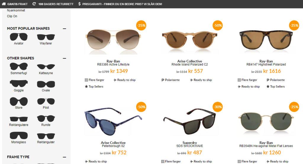 Dette bildet viser noen av solbrillene på Smartbuyglasses.no