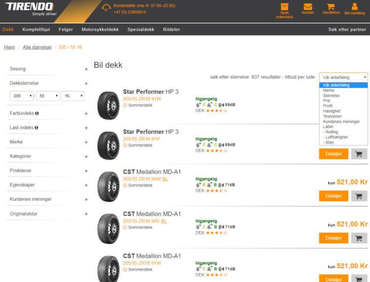 Bildet viser noe av bildekk-utvalget på Tirendo.no.