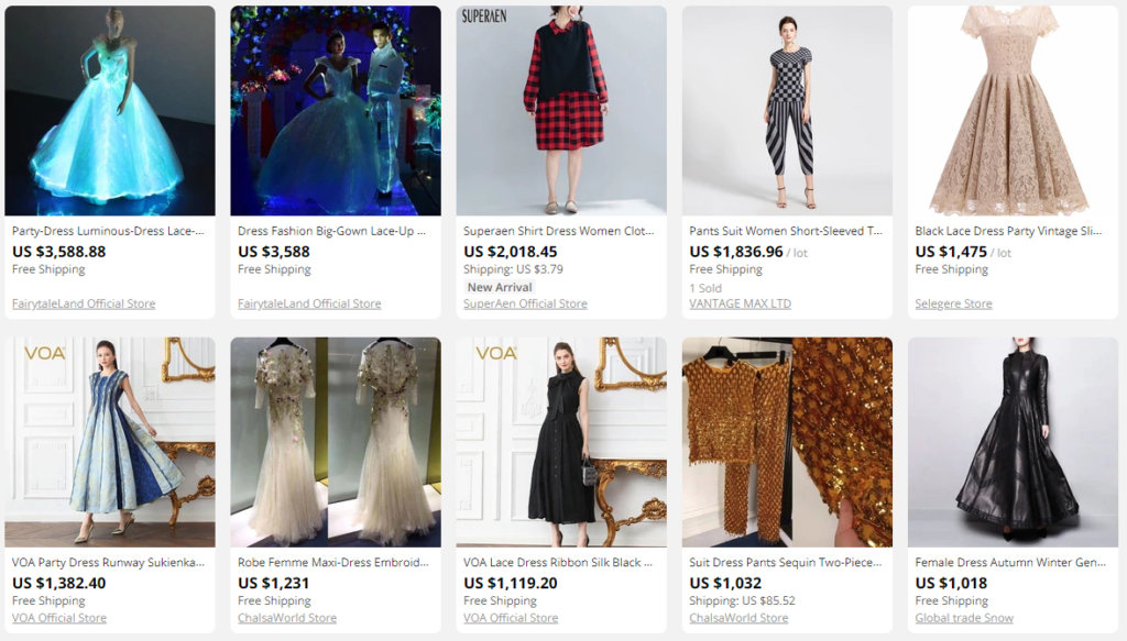 Bildet viser noen av de dyreste kjolene på Aliexpress.no