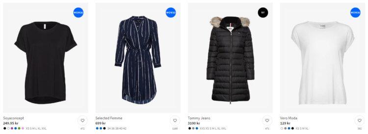 """Bildet viser noen av """"Bærekraftig mote""""-produktene på Boozt.com"""