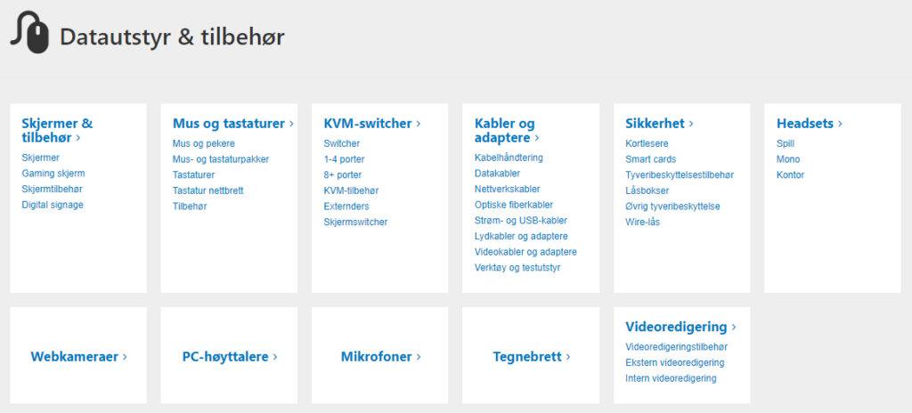 Bildet viser litt av kategorisystemet på Dustinhome.no
