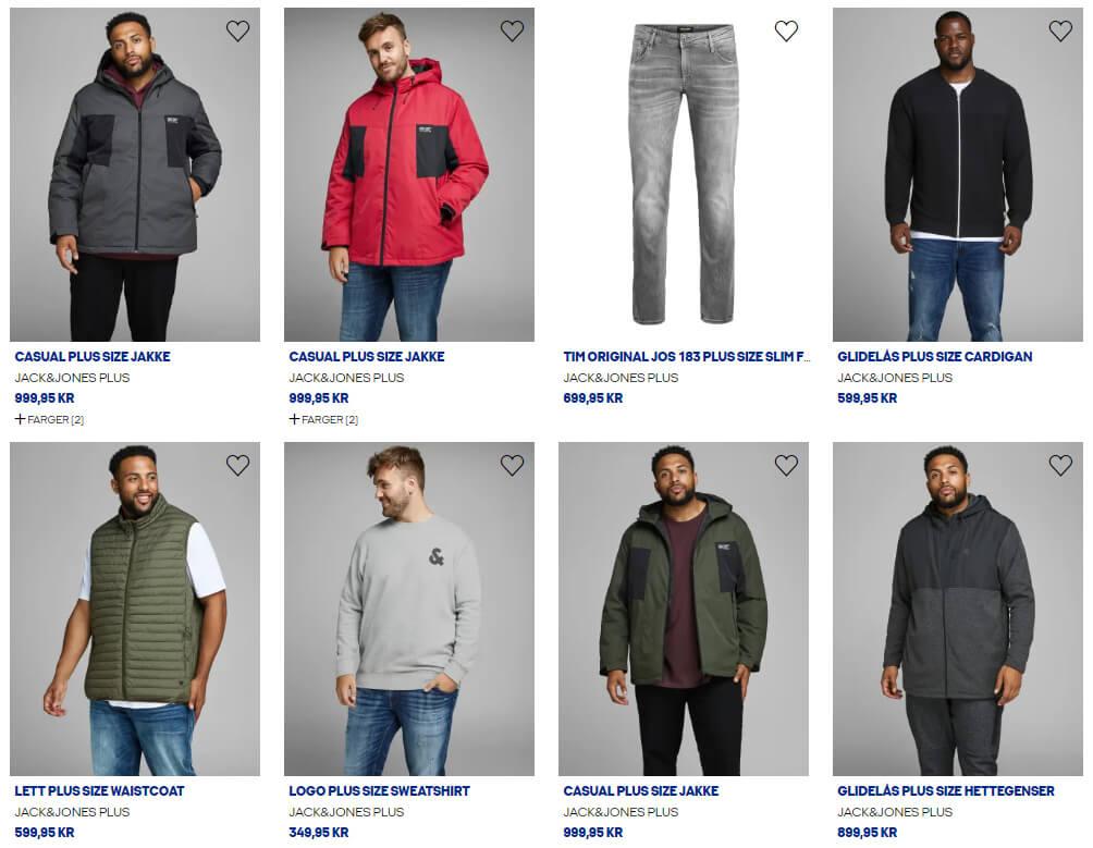 Bildet viser noen av Plus Size-produktene på Jack&Jones.no