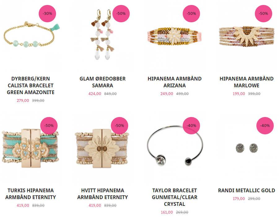 Bildet viser noen av tilbudsvarene på Jewelbox,.no