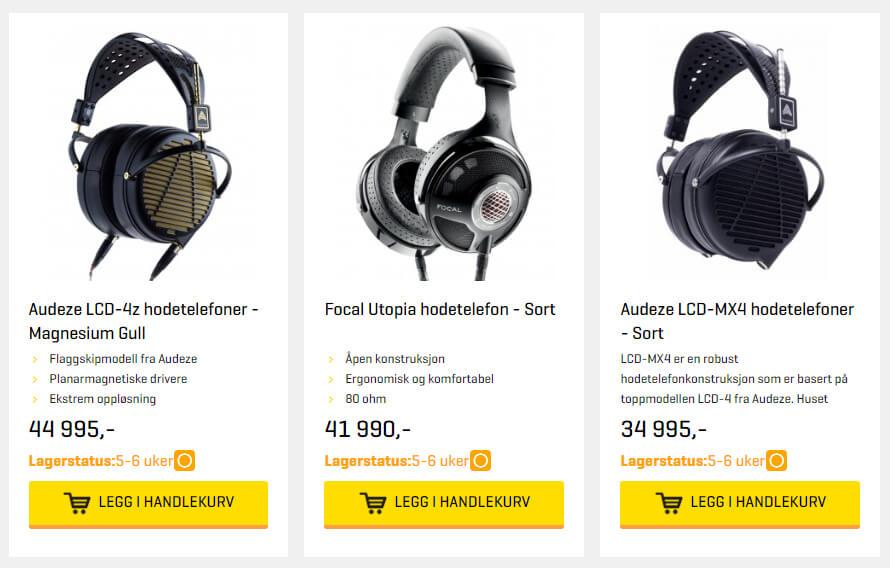 Bildet viser noen av de dyreste hodetelefonene på Soundgarden.no