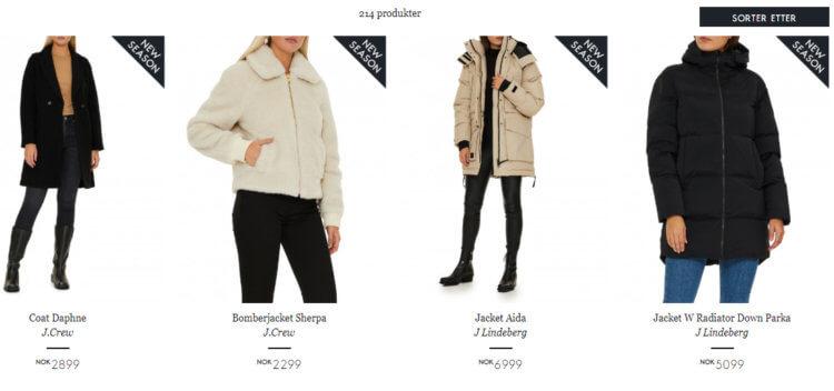 Bildet viser noen av jakkene i utvalget til Wakakuu.