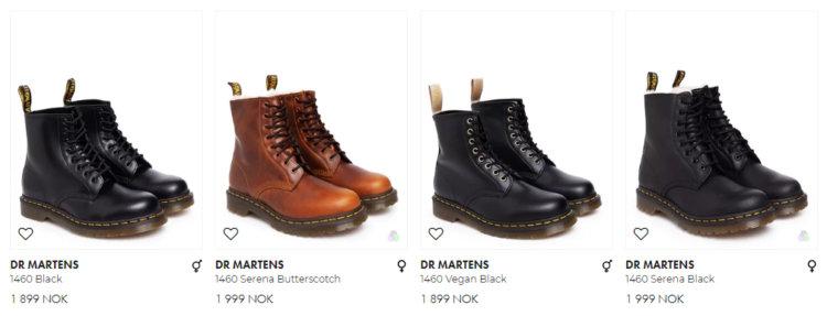 Bildet viser noen av Dr. Martens-skoene i utvalget på ZooVillages nettbutikk.