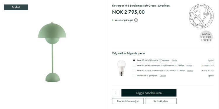 Bildet viser en av designerlampene på Lampemesteren.no