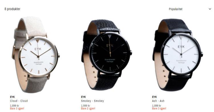 Bildet viser noen av klokkene man får kjøpt på Villloid.no