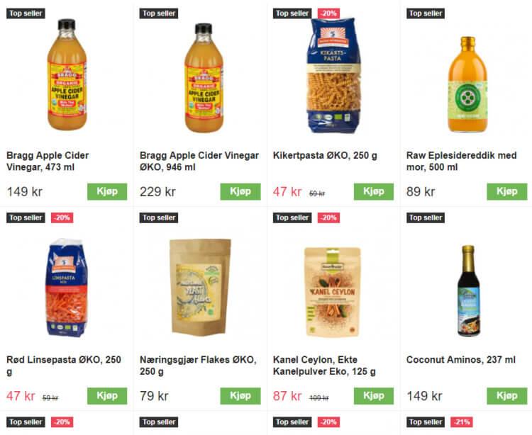 Bildet viser noen av de mest solgte varene i matvarekategorien på Bodystore.no