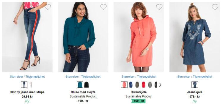 Bildet viser noen av klesplaggene til salgs på bonprix
