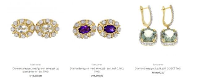Bildet viser noen av smykkene med edelstener, som man får kjøpt på Diamanthuset.no